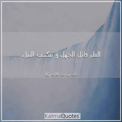 العلم قاتل الجهل و م علي بن أبي طالب ع Kalimaquotes