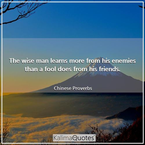 The wise man learns more from his enemies than a fool does from his friends.