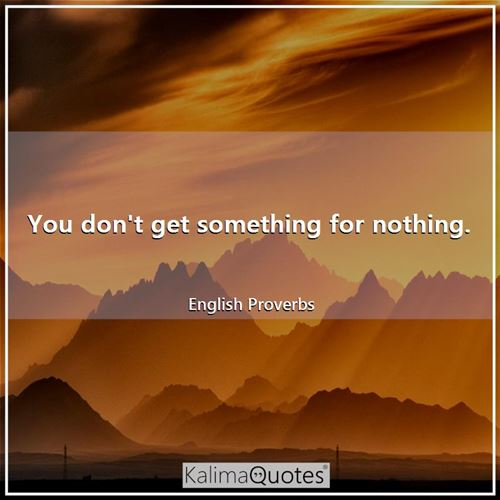 You don't get something for nothing. - English Proverbs