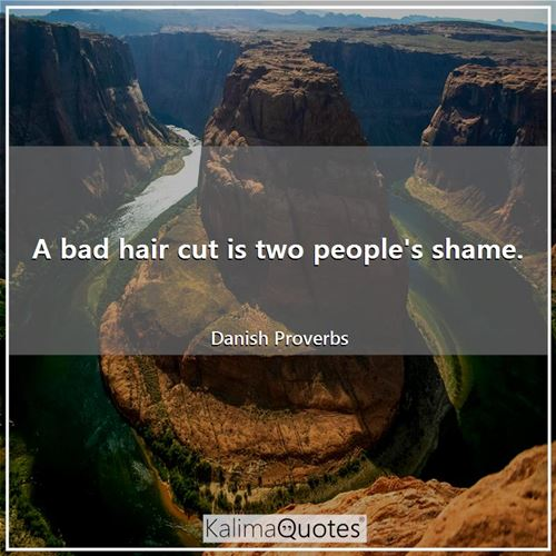 A bad hair cut is two people's shame.