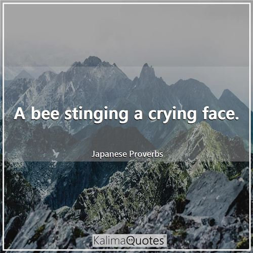 A bee stinging a crying face.