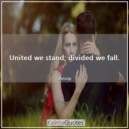 United we stand; divided we fall.