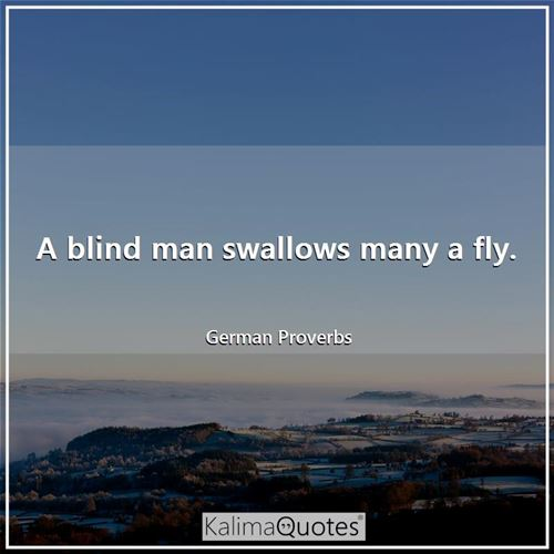 A blind man swallows many a fly.