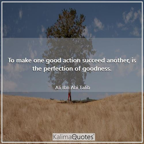 To make one good action succeed another, is the perfection of goodness. - Ali Ibn Abi Talib