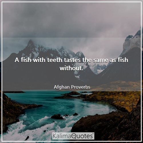 A fish with teeth tastes the same as fish without. - Afghan Proverbs