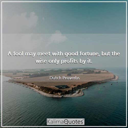 A fool may meet with good fortune, but the wise only profits by it.
