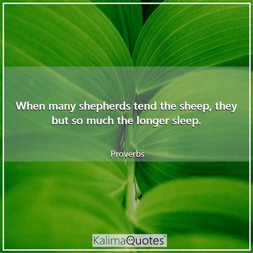 When many shepherds tend the sheep, they but so much the longer sleep. - Proverbs