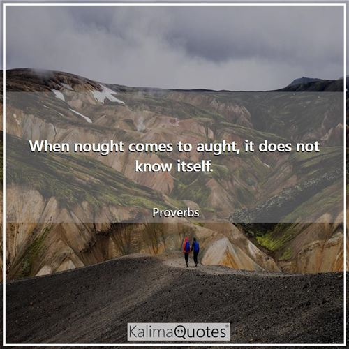 When nought comes to aught, it does not know itself. - Proverbs