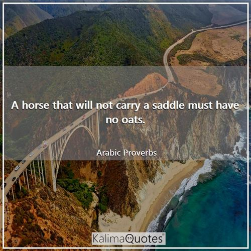 A horse that will not carry a saddle must have no oats.
