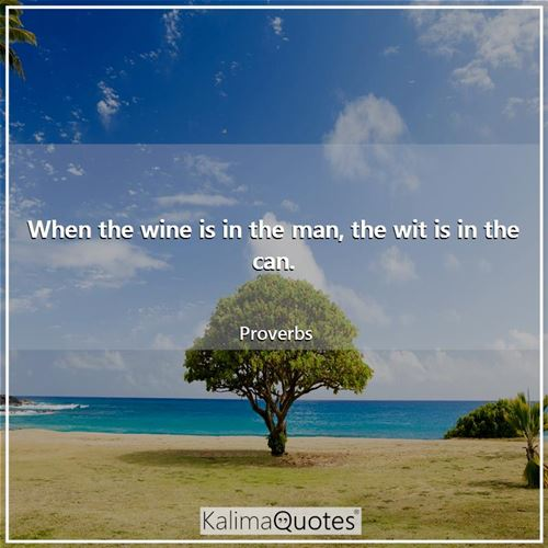 When the wine is in the man, the wit is in the can. - Proverbs