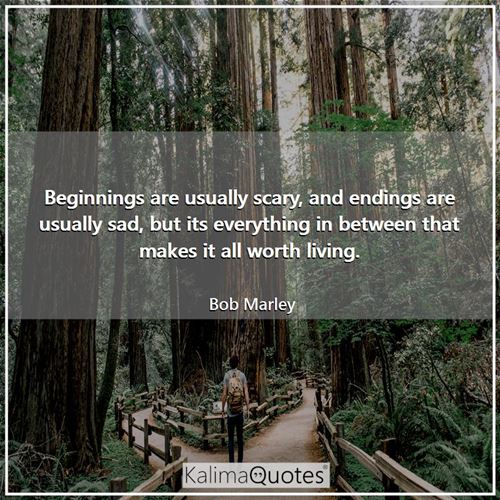Beginnings are usually scary, and endings are usually sad, but its everything in between that makes  - Bob Marley