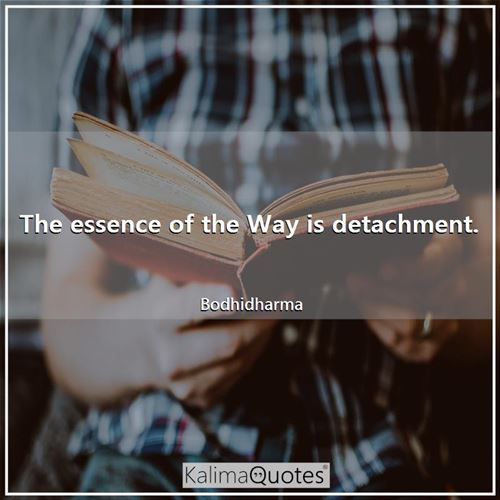The essence of the Way is detachment. - Bodhidharma