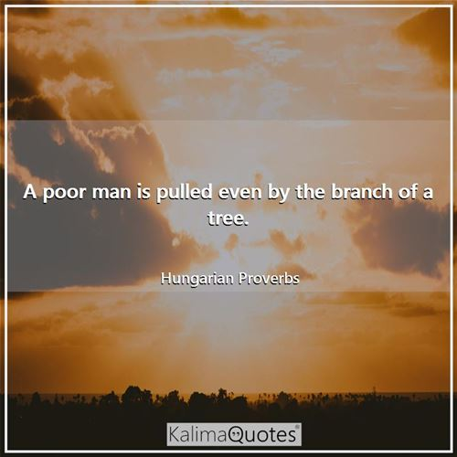 A poor man is pulled even by the branch of a tree.