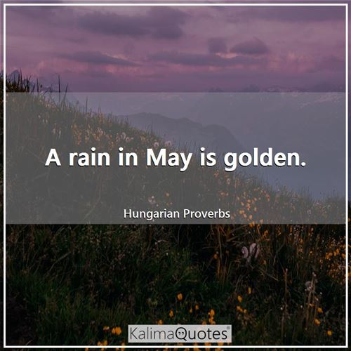 A rain in May is golden. - Hungarian Proverbs