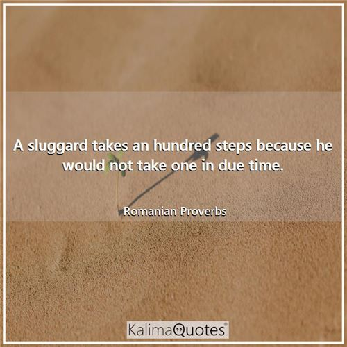 A sluggard takes an hundred steps because he would not take one in due time.