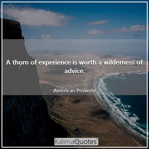 A thorn of experience is worth a wilderness of advice.