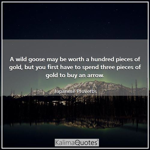 A wild goose may be worth a hundred pieces of gold, but you first have to spend three pieces of gold to buy an arrow.