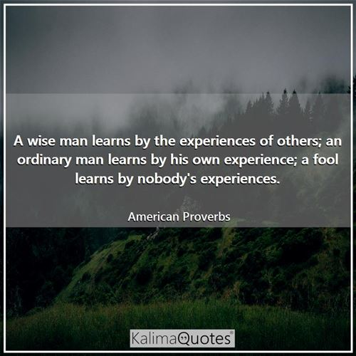 A wise man learns by the experiences of others; an ordinary man learns by his own experience; a fool learns by nobody's experiences.