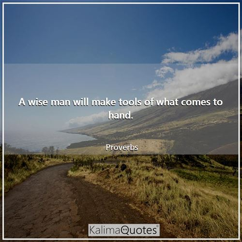A wise man will make tools of what comes to hand.