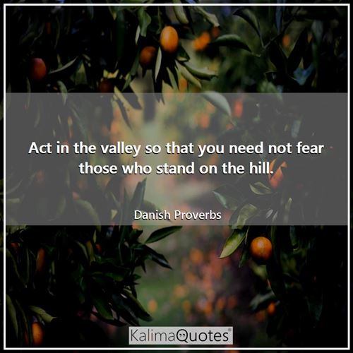 Act in the valley so that you need not fear those who stand on the hill. - Danish Proverbs