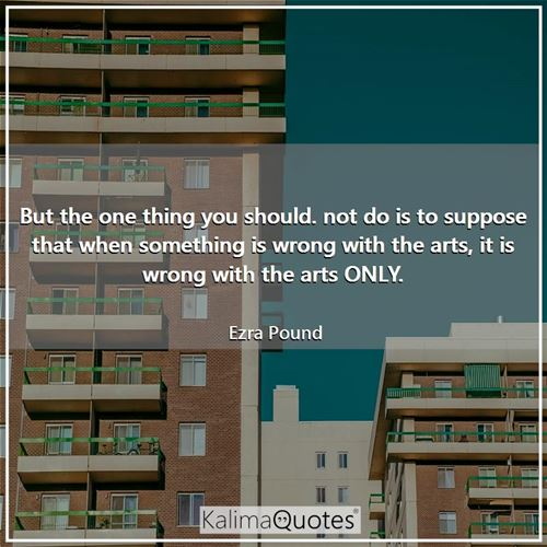 But the one thing you should. not do is to suppose that when something is wrong with the arts, it is wrong with the arts ONLY.