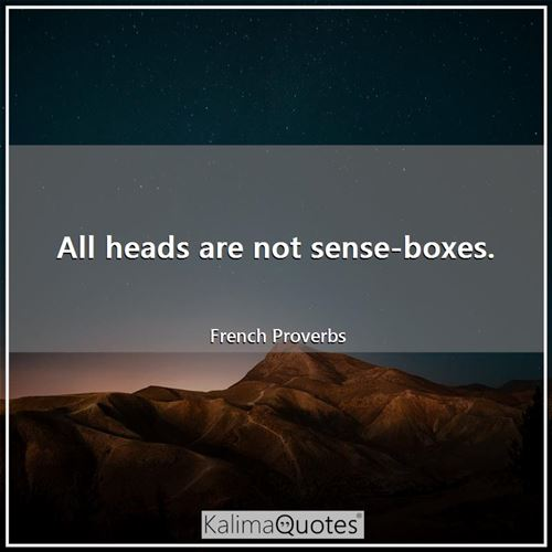All heads are not sense-boxes.