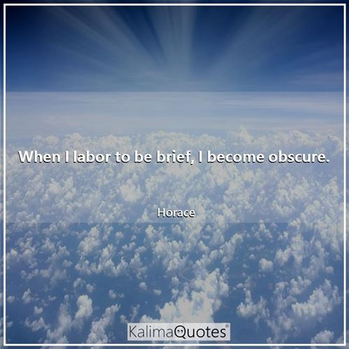 When I labor to be brief, I become obscure.