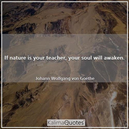 If nature is your teacher, your soul will awaken. - Johann Wolfgang von Goethe