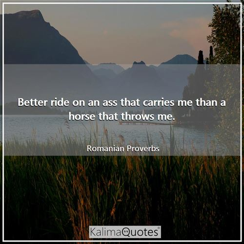 Better ride on an ass that carries me than a horse that throws me.