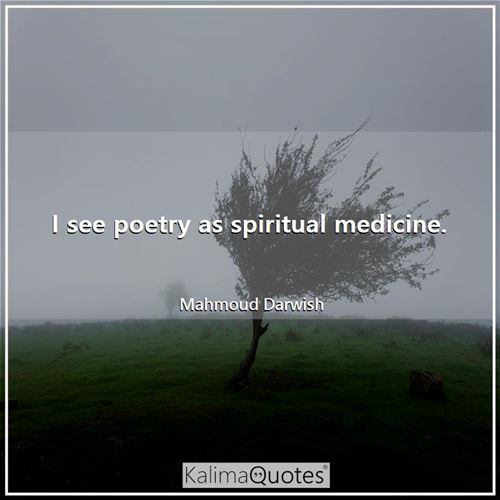 I see poetry as spiritual medicine.