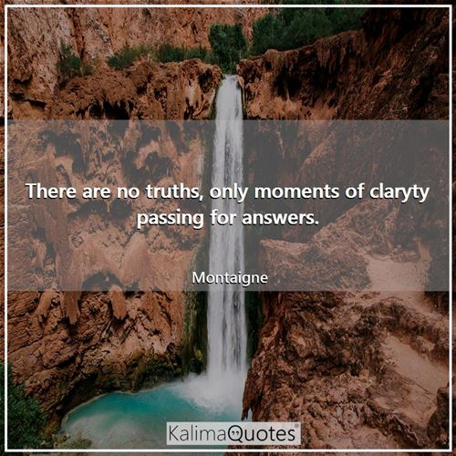 There are no truths, only moments of claryty passing for answers. - Montaigne
