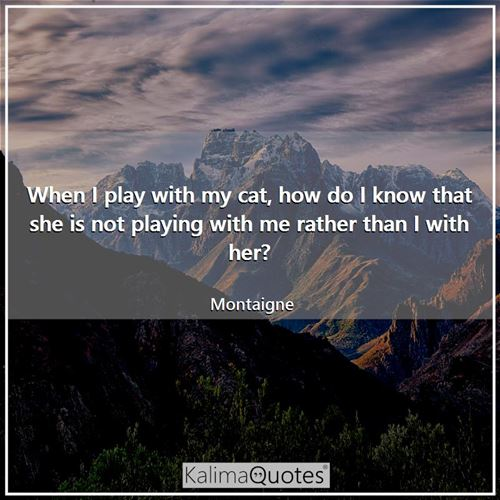 When I play with my cat, how do I know that she is not playing with me rather than I with her?