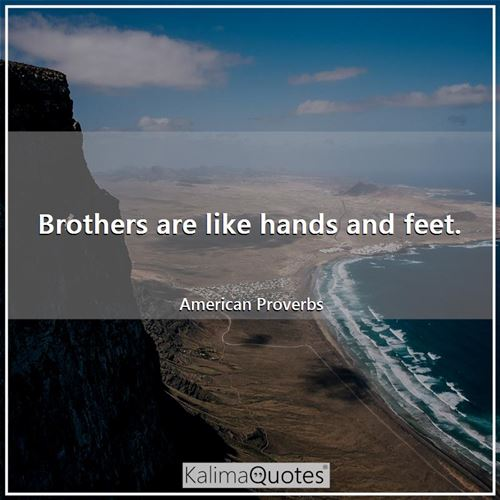 Brothers are like hands and feet.