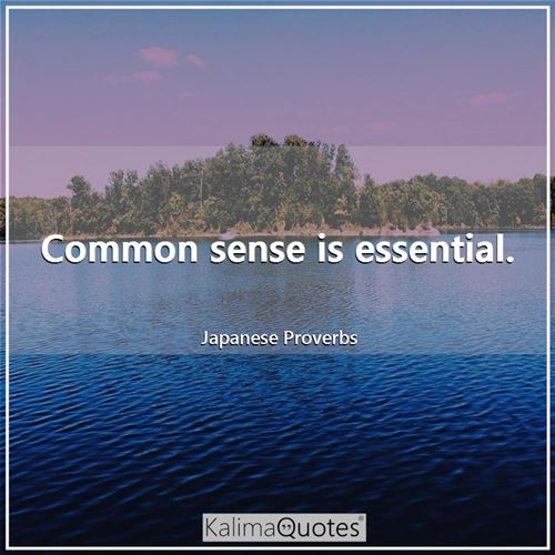 Common sense is essential. - Japanese Proverbs