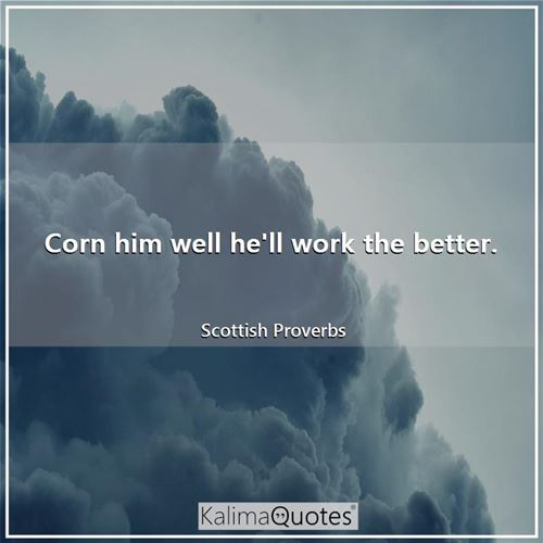 Corn him well he'll work the better. - Scottish Proverbs