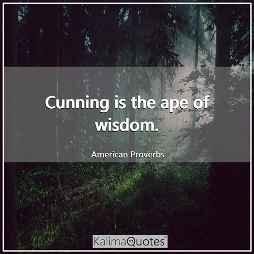 Cunning is the ape of wisdom.