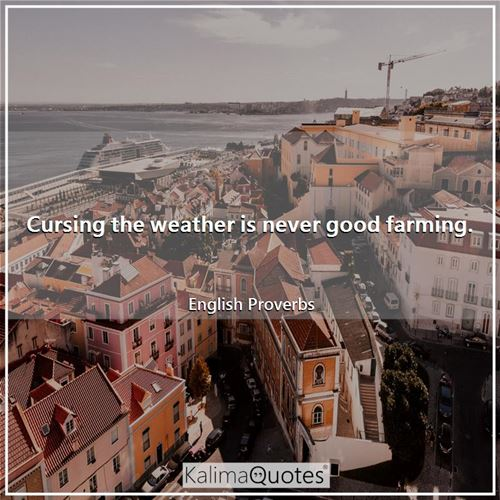 Cursing the weather is never good farming. - English Proverbs