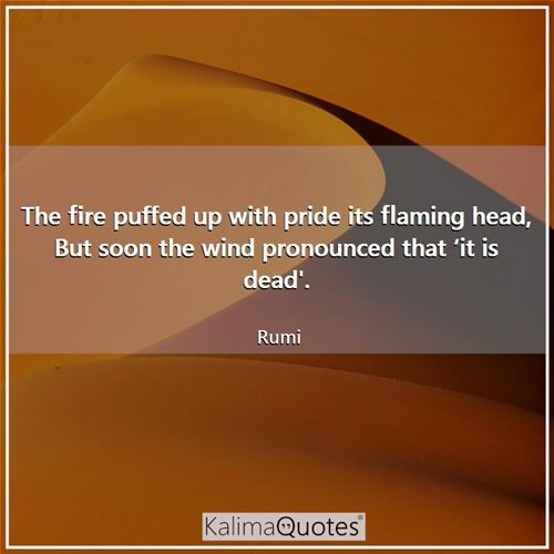 The fire puffed up with pride its flaming head, But soon the wind pronounced that 'it is dead'.
