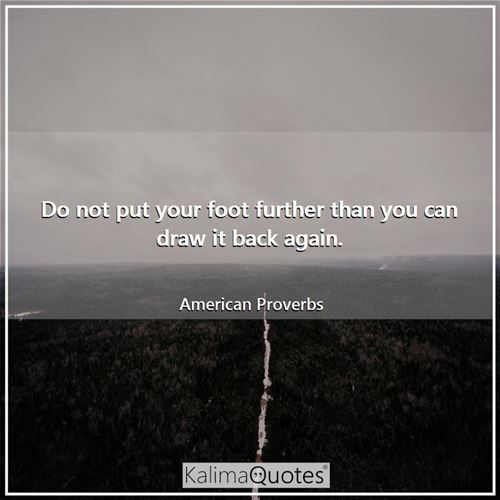 Do not put your foot further than you can draw it back again. - American Proverbs