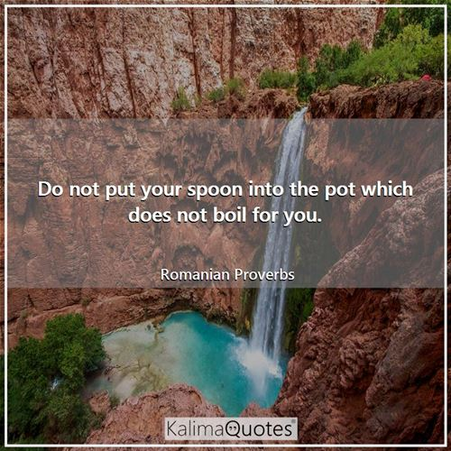 Do not put your spoon into the pot which does not boil for you.