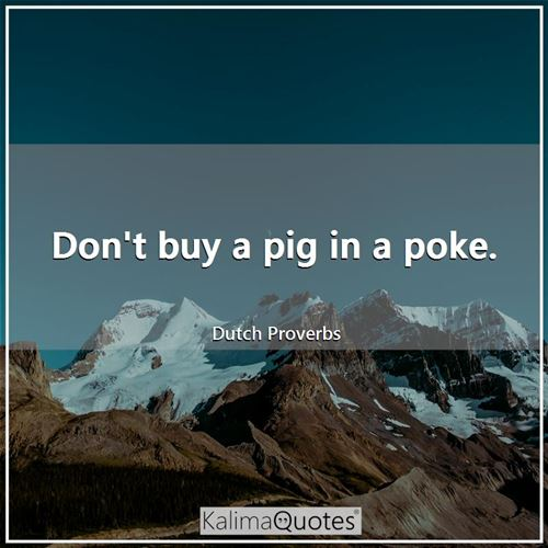 Don't buy a pig in a poke. - Dutch Proverbs