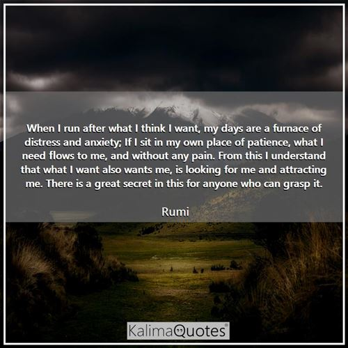 When I run after what I think I want, my days are a furnace of distress and anxiety; If I sit in my  - Rumi