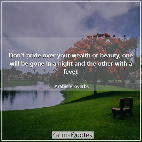 Don't pride over your wealth or beauty, one will be gone in a night and the other with a fever.