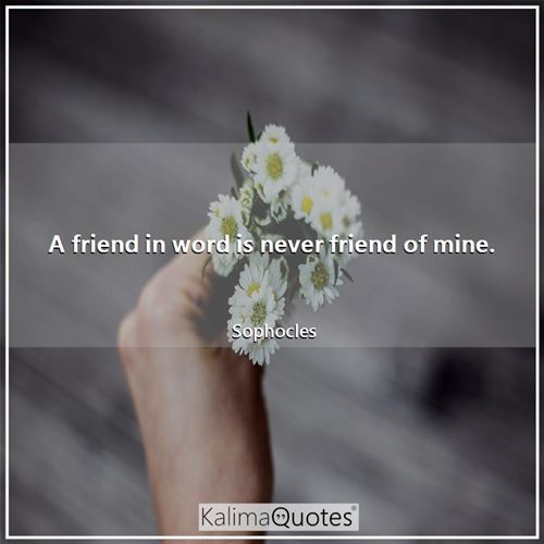 A friend in word is never friend of mine.