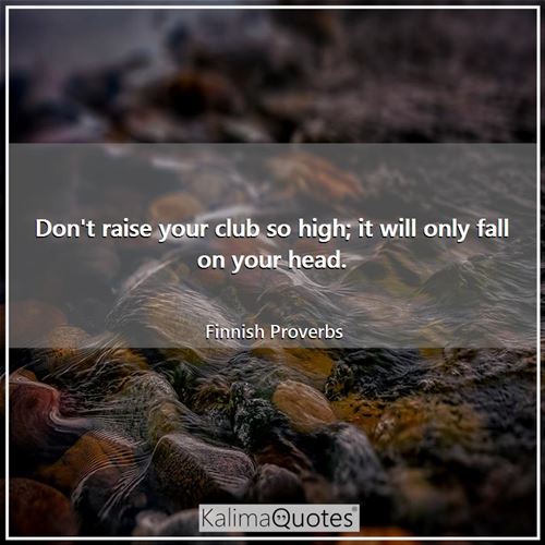 Don't raise your club so high; it will only fall on your head. - Finnish Proverbs