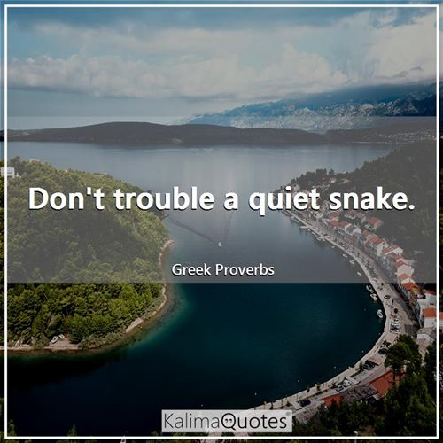 Don't trouble a quiet snake.