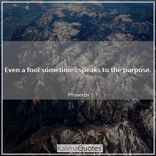 Even a fool sometimes speaks to the purpose.