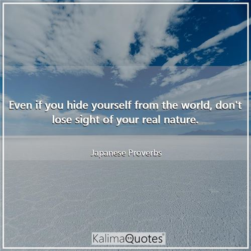 Even if you hide yourself from the world, don't lose sight of your real nature. - Japanese Proverbs