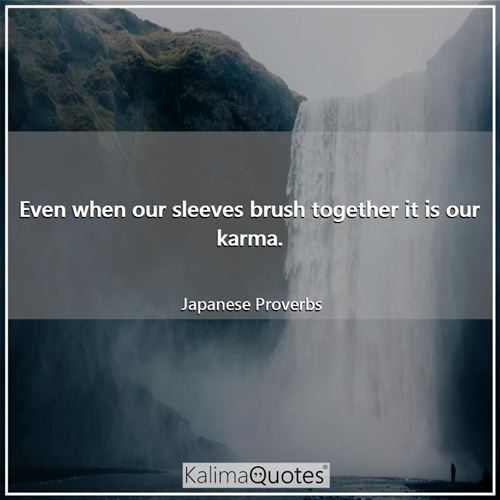 Even when our sleeves brush together it is our karma.