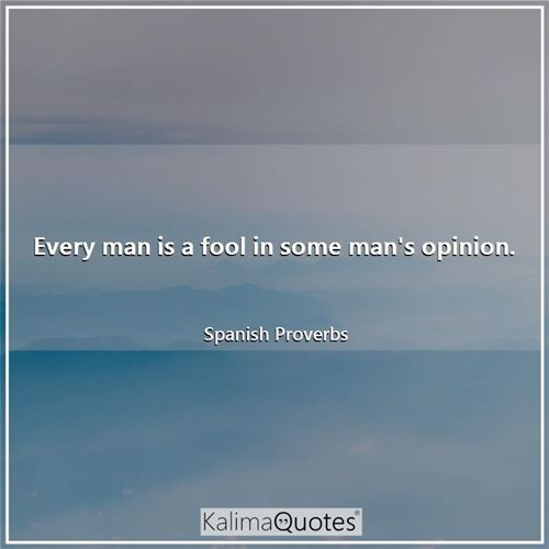 Every man is a fool in some man's opinion.